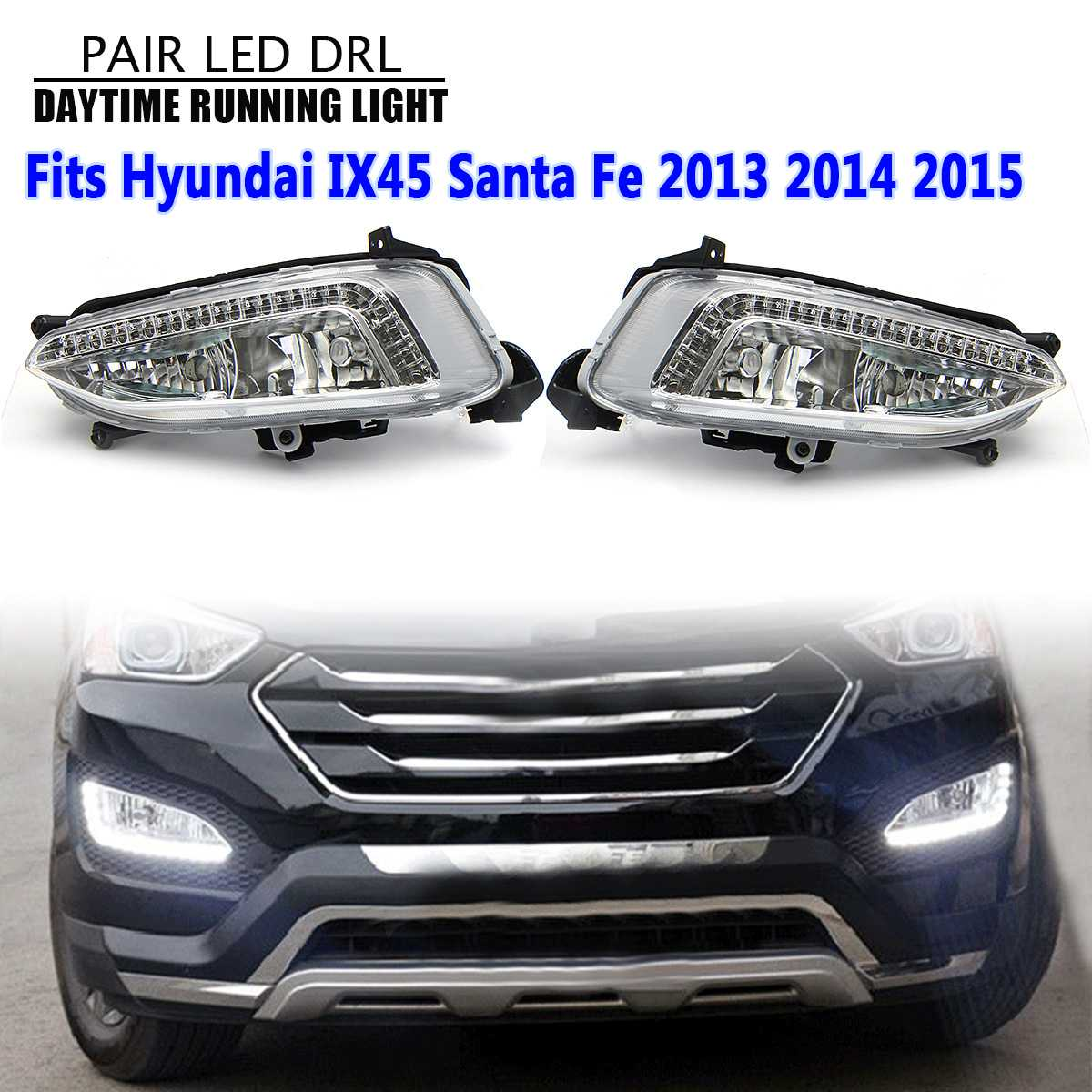 Voiture antibrouillard assemblage LED DRL feux de jour étanche 12 V pour Hyundai Santa Fe IX45 2013 2014 2015 accessoires