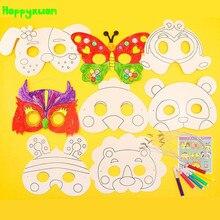 Happyxuan 2 упаковки(16 конструкций) Детские DIY граффити маски для раскрашивания живопись детский сад художественные материалы для рукоделия набор рисования игрушки