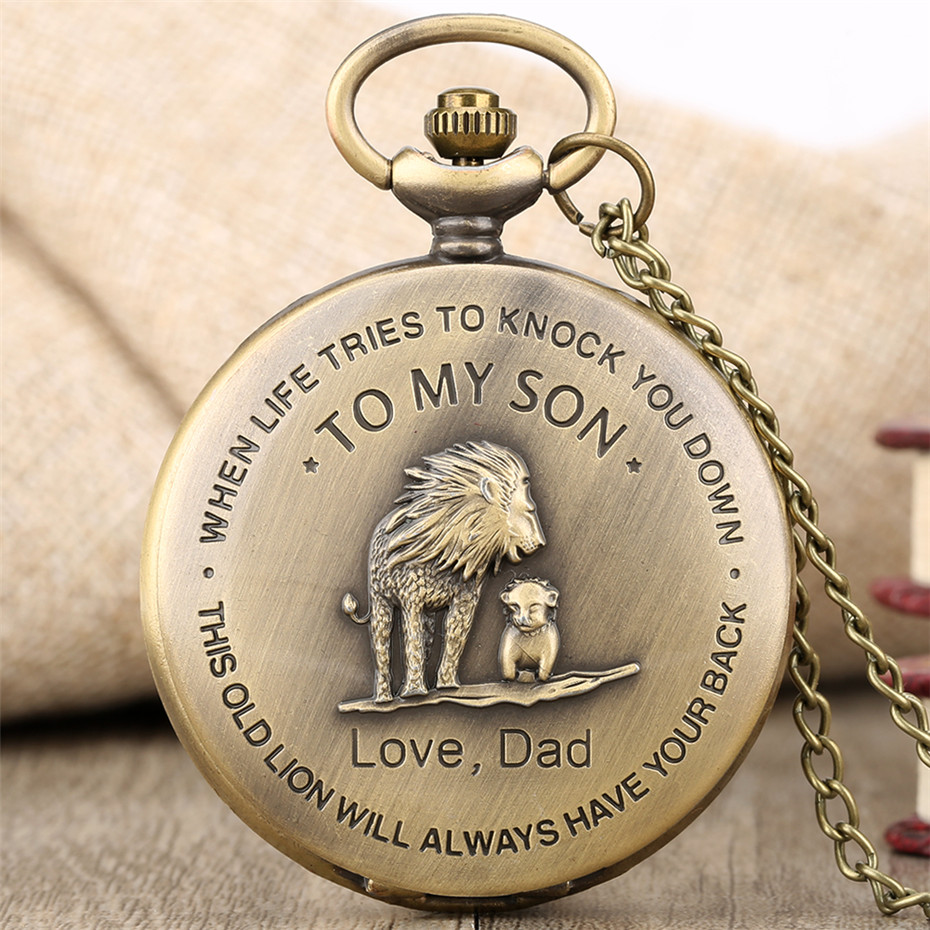 Bronze Lion Pocket Watch Quartz Necklace Chain To My Son Love Dad Design Pendant Watch Best Gifts For Kids Boys Dropshipping