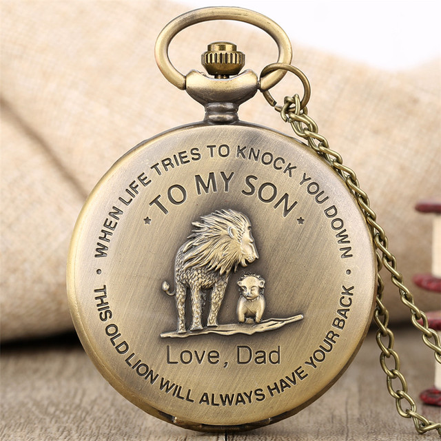 Bronze Lion Pocket Watch Quartz Necklace Chain To My Son Love Dad Design Pendant