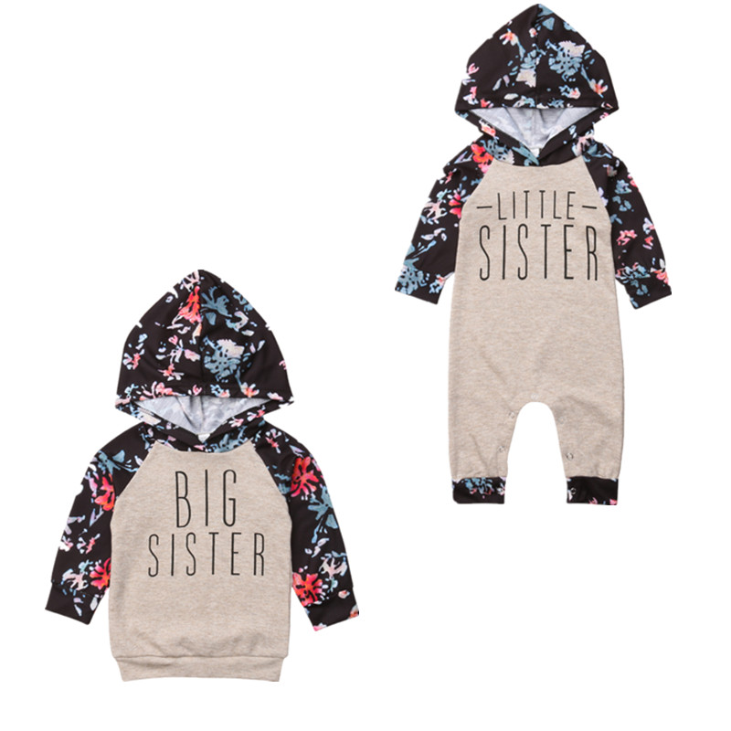 Family Matching Outfits Baby Girl Sister Match Floral Clothes Hooded Top Kids Jumpsuit Romper Outfit