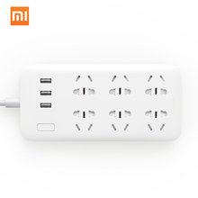 Xiaomi Mijia Power Strip Converter 6 Sockets Portable Plug Travel Home Adapter with 3 USB Quick Charge Port Plug Outlet Switch