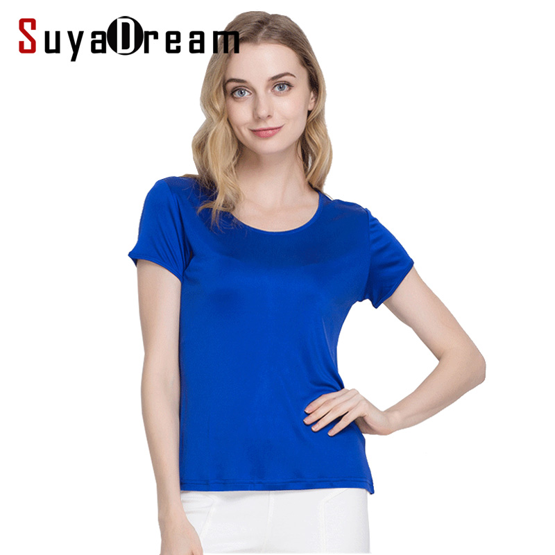 Silk women T shirt 100% Natural silk basic shirt Short sleeve solid women top 2018 new white black