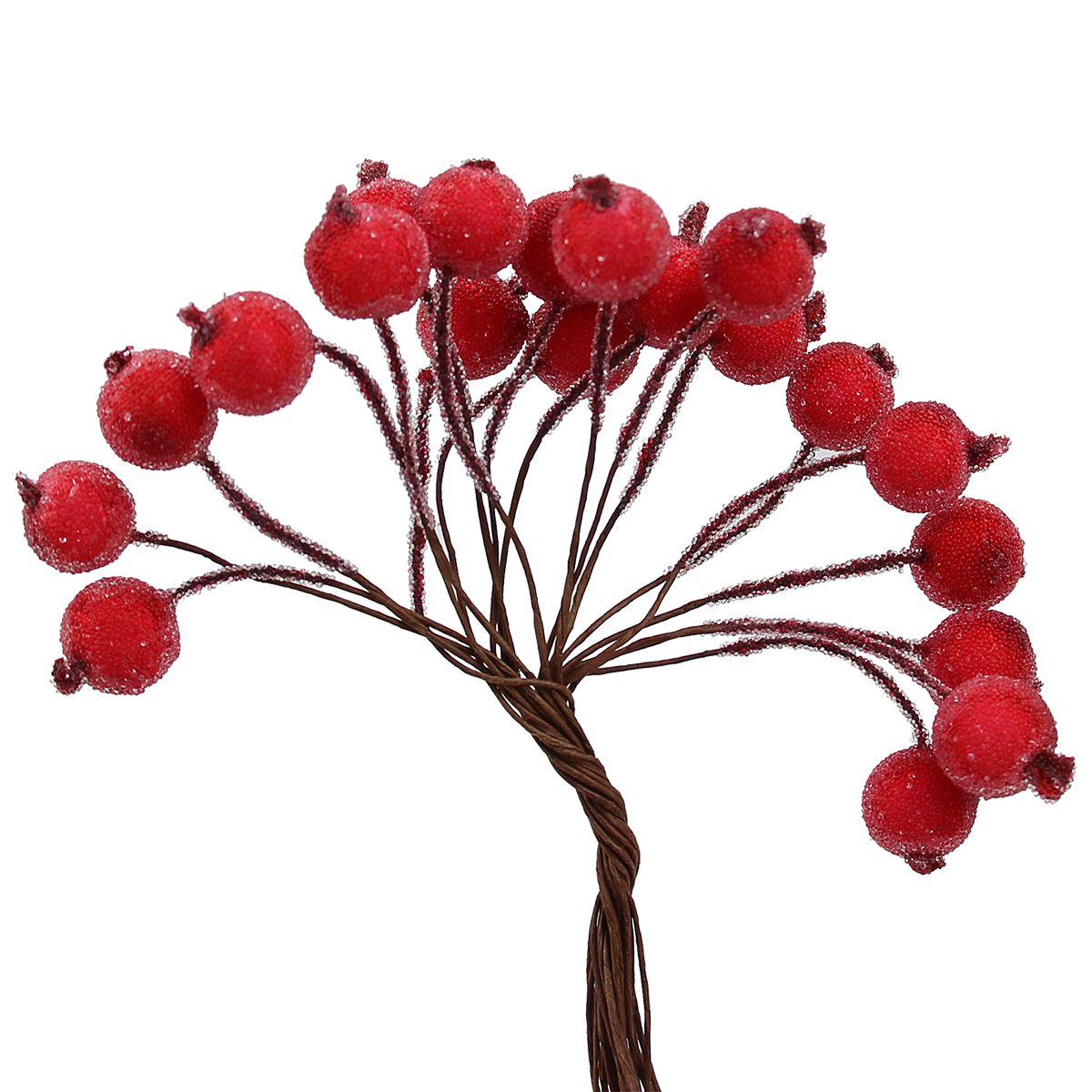 200pcs Artificial Frosted Berry Chic Mini Frosted Fruit Holly Artificial Flower