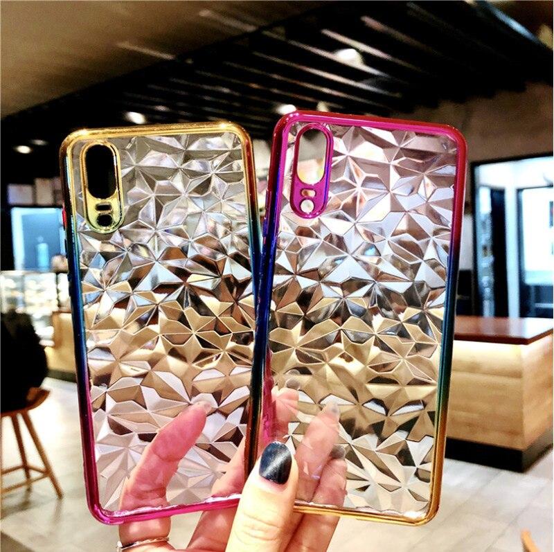 3D Gradient Diamond Plating Solf TPU Cover Phone Case For Huawei P30 Mate20 Y6 Nova 3 2 2I On Honor 8C 8A 7C 7A Pro P20 Pro Lite