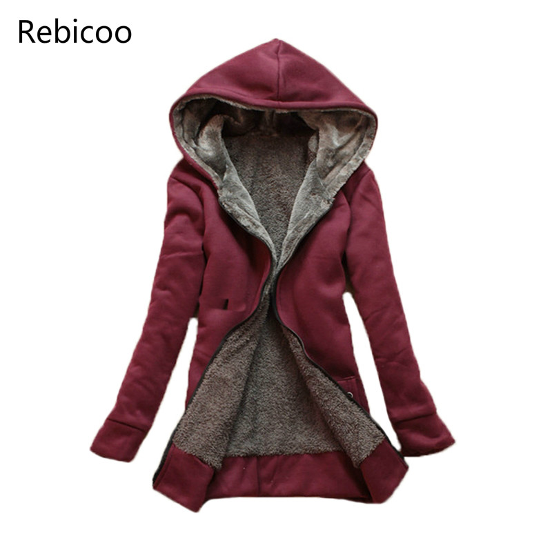 Autumn Winter Thick Warm   Jacket   Women   Basic     Jacket   Coat Slim Hooded Outerwear Cotton Blend Fleece Coats Cardigans Windbreaker