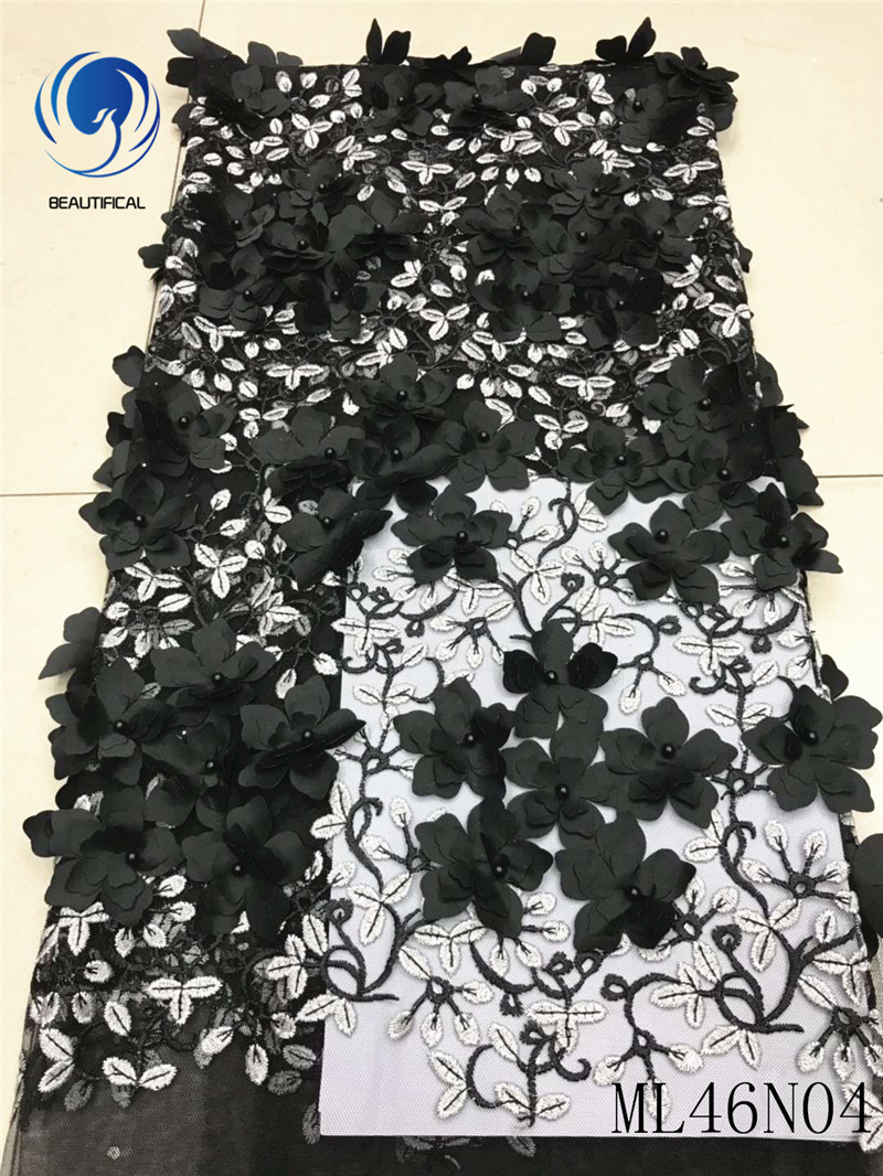 BEAUTIFICAL 3D laces fabrics 2019 african appliqued lace fabrics with beads laces dress appiqued for women 5yards/lot ML46N04BEAUTIFICAL 3D laces fabrics 2019 african appliqued lace fabrics with beads laces dress appiqued for women 5yards/lot ML46N04