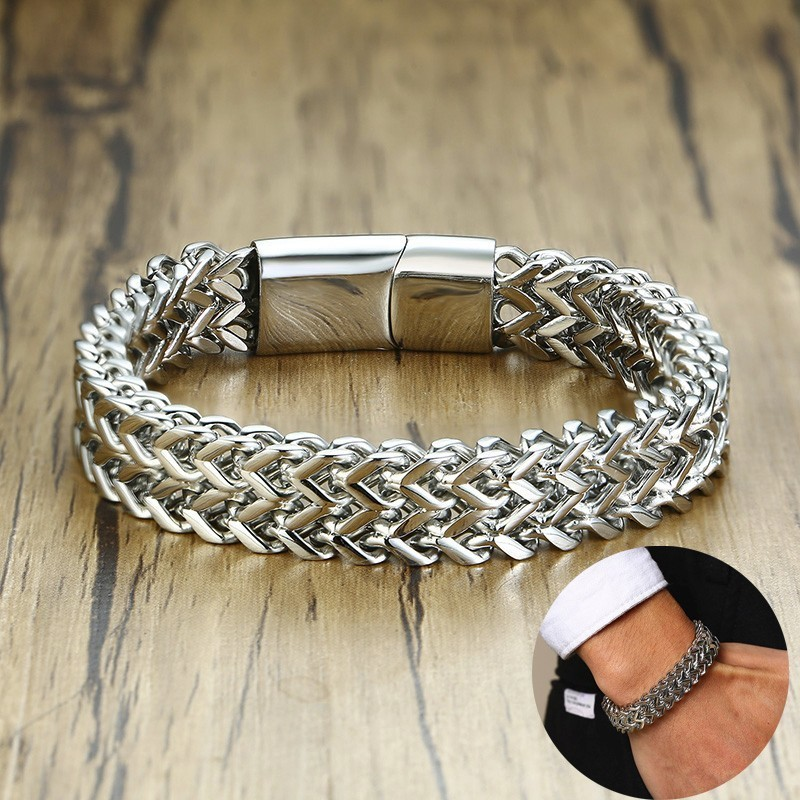Men Bali Tulang Naga Silverly Double Rows Foxtail Franco Wheat Chain Bracelet in Stainless Steel 12mm Wide Heavy Wristband 8.6inMen Bali Tulang Naga Silverly Double Rows Foxtail Franco Wheat Chain Bracelet in Stainless Steel 12mm Wide Heavy Wristband 8.6in