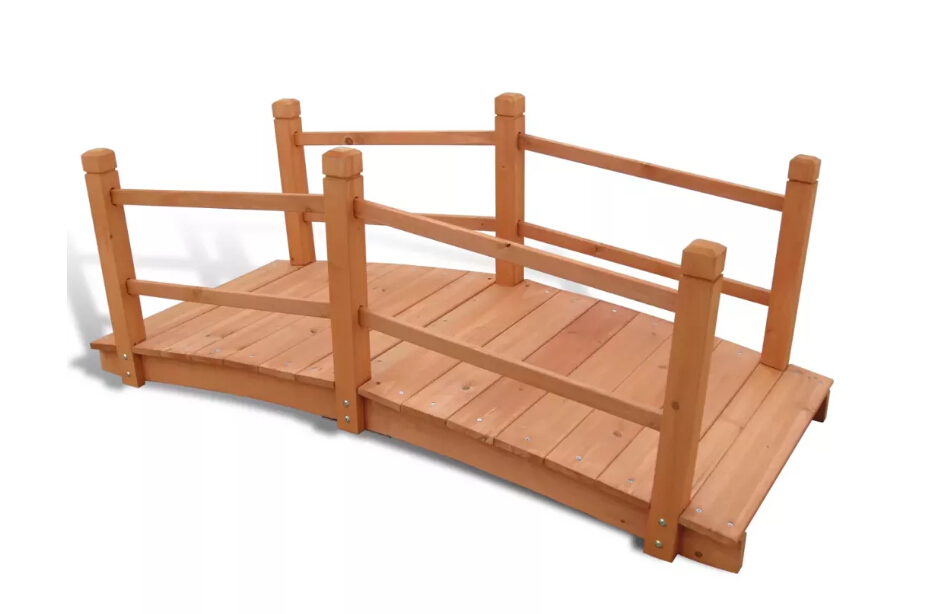 VidaXL High Quality Garden Bridge Solid Wood Material Resistant To Moisture, Rot And Insect Damage 140 X 60 X 56 Cm