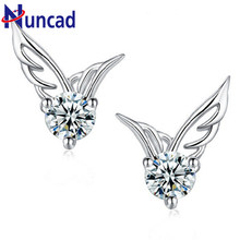 2017 New Fashion Wome's Silver Color Jewelry Angel Wings Crystal Ear Stud Earrings Shiny CZ Zircon Jewelry Brincos femme(China)