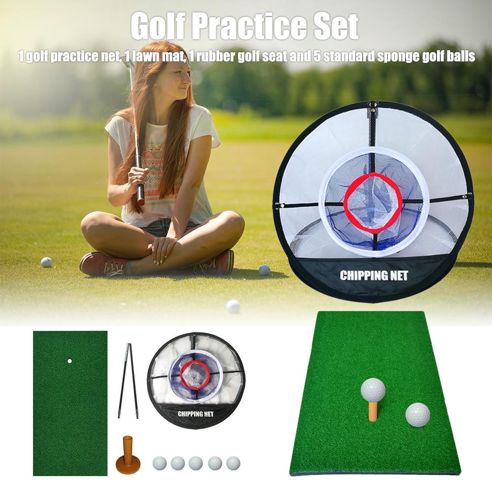 Набор для гольфа коврик для гольфа Всплывающие Складные сеть для гольфа реалистичные фарватеры портативные чипы Гольф принадлежности с мишенями