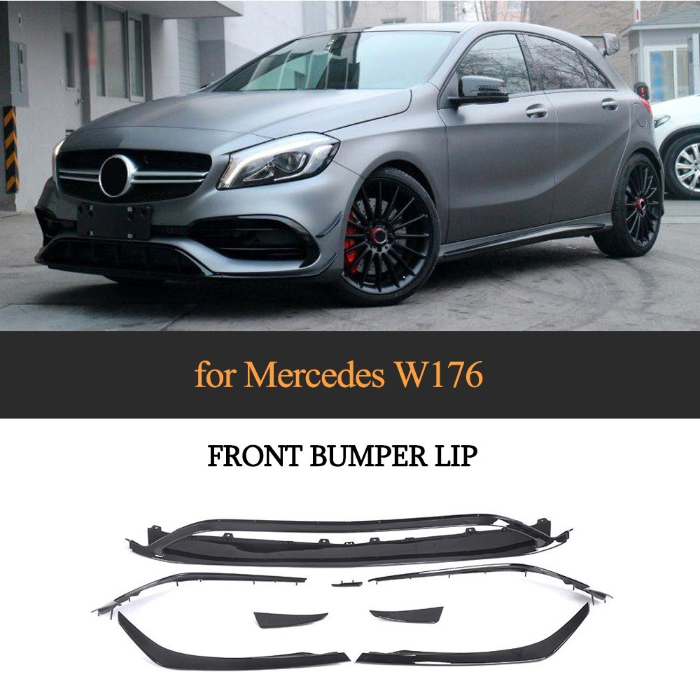For Mercedes Benz W176 A200 A250 A45 AMG 5 Door Hatchback 2016 2017 2018 Now ABS Front Bumper Lip Canards Vents 8 pieces/set