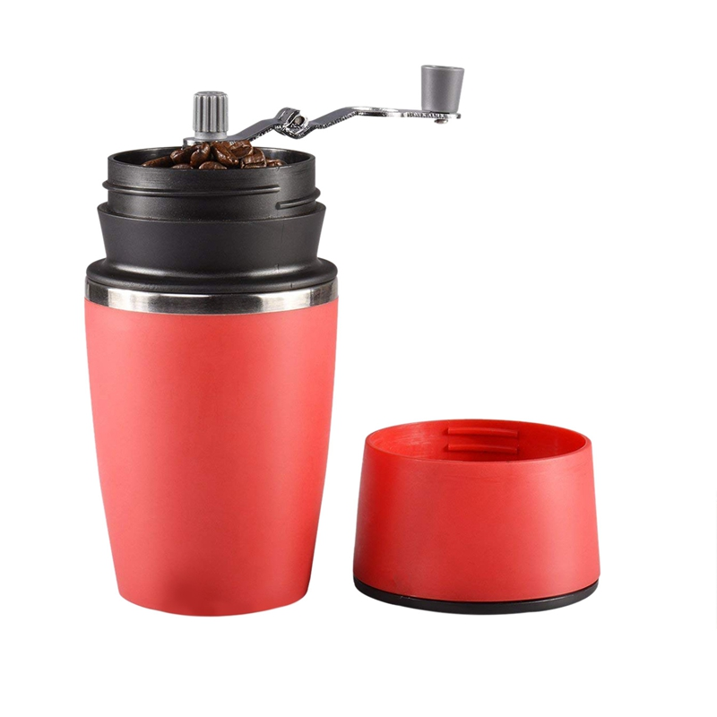 Portable Manual Coffee Grinder, Adjustable Single Cup Coffee Maker Ceramic Burr Coffee Grinder Mug With Built-in Grind And Bre
