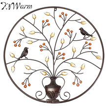 KiWarm Black Birds Tree Metal Iron Sculpture Ornament for Home Room Wall Hanging Decoration Art Crafts Gift 62cm/24.4inch(China)