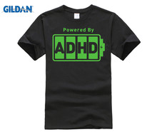 GILDAN Battery Powered ADHD T Shirt Funny Energy ADD Deficit Tee Top for Sale Natural Cotton T-Shirts Sleeve