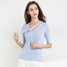2019 spring and summer new ice silk sweater mujer bow short-sleeved thin net red pullover women 1932
