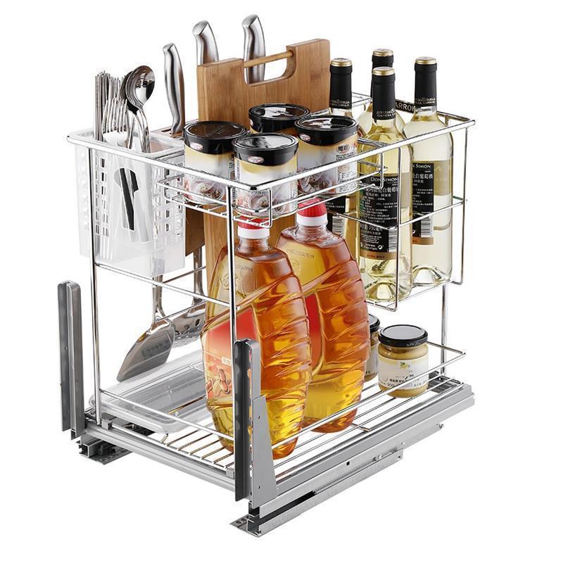 Alacena Organizar Organizador Kuchnia Cestas Para Colgar En La Ducha Stainless Steel Cocina Organizer Kitchen Cabinet Basket