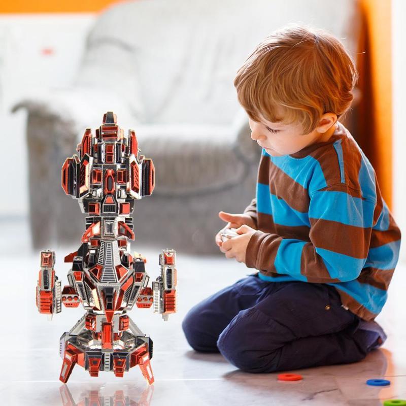 3D bricolage Puzzle En Métal Flamboyant Vaisseau Spatial Modèle Découpé Au Laser L'assemblée Puzzle Jouets Couper Assemblage Blocs De Puzzle Jouet