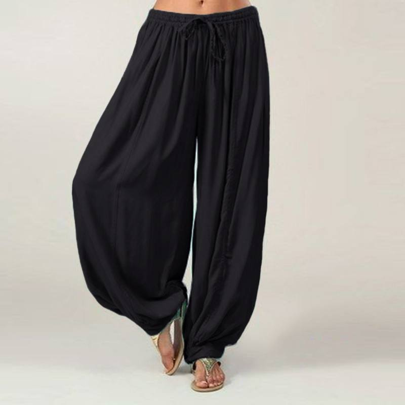 Women   Wide     Leg     Pants   2019 VONDA Autumn Casual Elastic Waist Loose Long Harem   Pants   Female Long Trousers Plus Size Bottoms