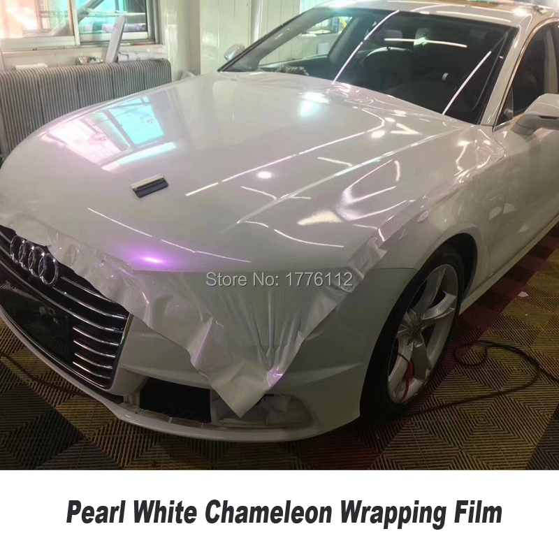 White to Purple Pearl Gloss Chameleon Vinyl Wrap With Air Bubble Free car wrapping film Gloss Film Covers Stickers 1.52*20M/Roll