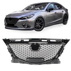 Para Mazda 3 Axela 2014 2015 2016 parrilla frontal superior Parrilla de panal negro