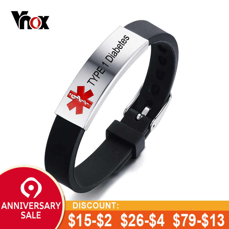 e9aaa3e39f766 Vnox Free Personalized Engrave Record Customized Info Medical Alert ID  Bracelet DIABETES EPILEPSY ALLERGY COPD