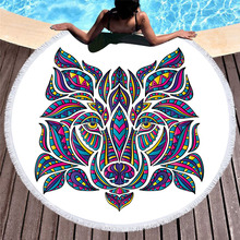 Colorful Round Beach Towel Tassels Wolf Elephant Printed Microfiber Bath Summer Yoga Mat Picnic Blanket Large Terry