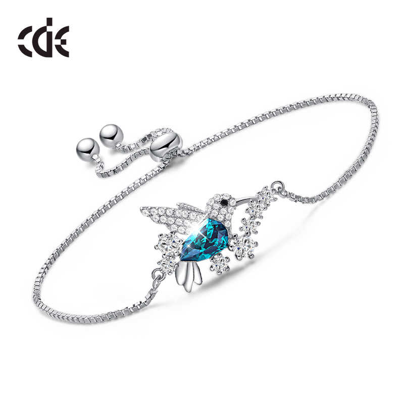 CDE 925 Sterling Silver Bracelets For Women Embellished with crystals from Swarovski Animal Bracelets Chain Adjustable Bracelet
