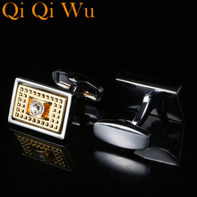 2019 New Arrive Luxury French Mens Shirt Cufflinks Metal Men Cuff Links For Wedding Party Crystal Cufflink High Quality RL-8055