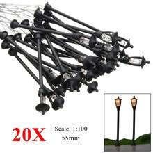 20 шт. модель садовые лампы HO Масштаб 1:100 черный модель макет одна голова садовый светильник s светильник ландшафтный светильник Модель