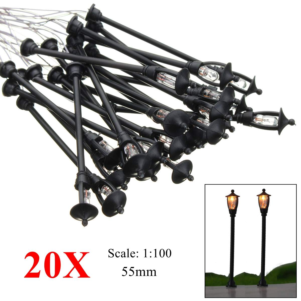 20pcs Model Garden Lamps HO Scale 1:100 Black Model Layout Single Head Garden Lights Lamppost Landscape Light Model