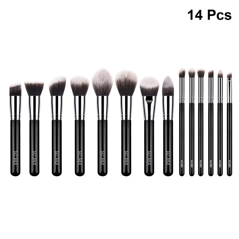 14 pcs Makeup Brush Wooden Handle Nylon Bristles Soft Premium Blush Brush Powder Brush Cosmetics Brush Kit for Girls