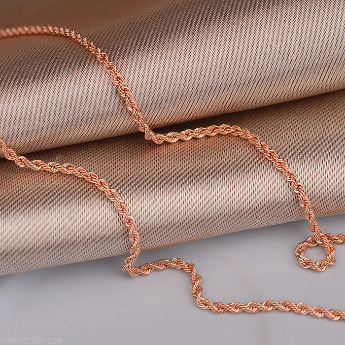 Au750 16INCH Authentic 18K Rose Gold Necklace 1.8mm Rope Link ChainAu750 16INCH Authentic 18K Rose Gold Necklace 1.8mm Rope Link Chain