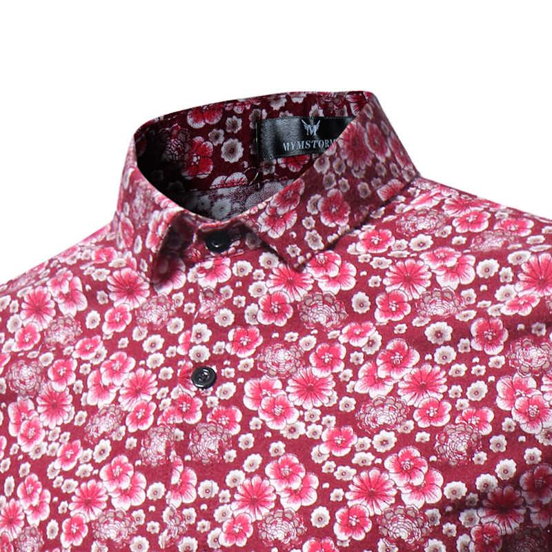 Мужская льняная Цветочная рубашка 2019 новая ретро Цветочная печатная Мужская Повседневная рубашка брендовая одежда Модная приталенная рубашка с длинным рукавом