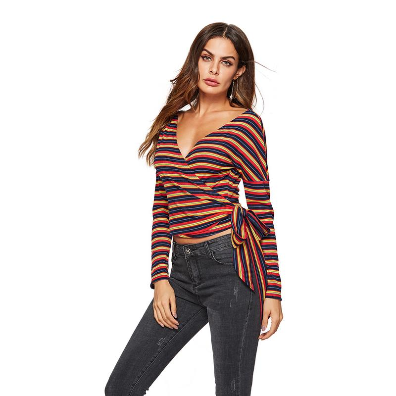 Fashion Simple Deep V Sexy Striped Thin Waistband Long-sleeved Knit Jacket Women's Clothing