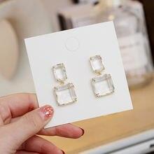 Двойные квадратные серьги для женщин роскошные прозрачные стеклянные