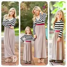a4fa9f1e7106 Fashion Mother Daughter Dresses Family Matching Clothes women Girls Casual  Striped Patchwork Dress Long Sleeve Girls Party Dress