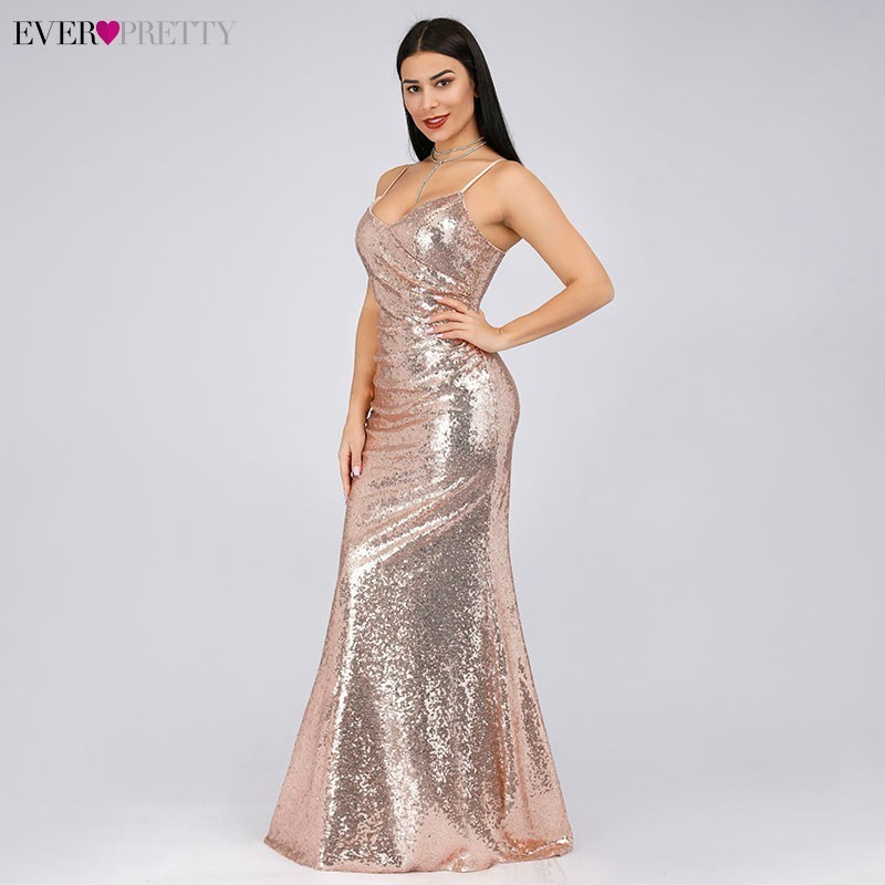 Ever Pretty   Prom     Dresses   Sexy V-Neck Spaghetti Straps Sequins Sleeveless   Prom     Dresses   2019 Robe De Soiree Long Party Gowns