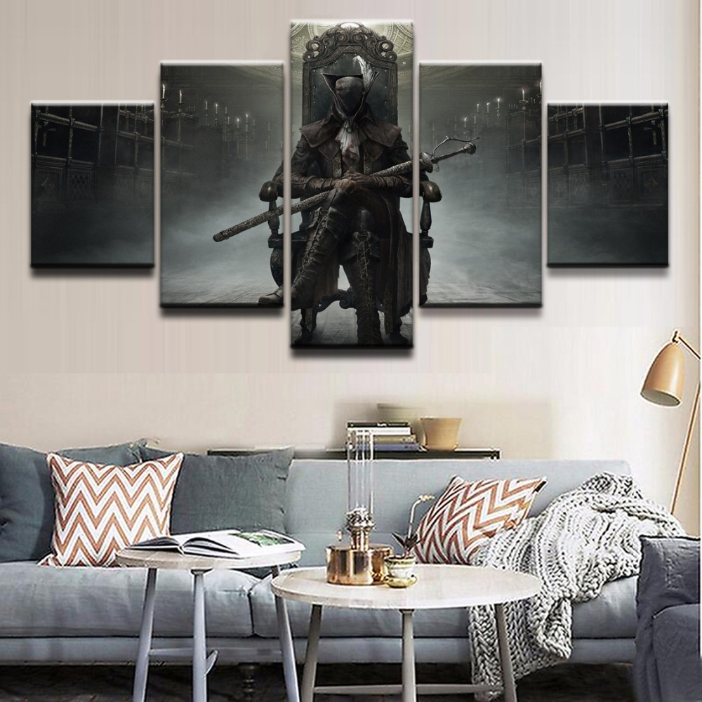 Framework HD Print Picture Canvas Wall Art For Living Room Modular 5 Panel Game Bloodborne Home Decoration Poster Painting in Painting Calligraphy from Home Garden