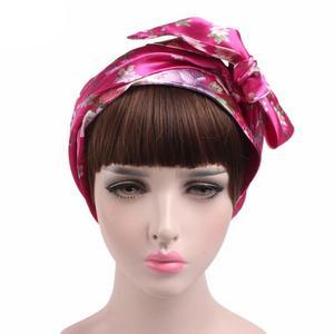 Image 4 - 1PC ファッション花ヘッドスカーフ女性イスラム教徒ストレッチターバン帽子イスラム海賊 Headwraps 弾性睡眠帽子ボンネットレディース Hijabs