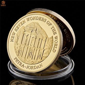 2007 novas sete maravilhas do mundo petra jordan banhado a ouro moeda comemorativa com cápsula protetora para presentes