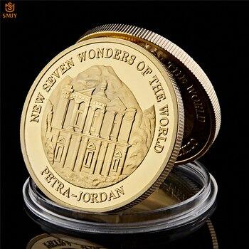 ¡NOVEDAD DE 2007! Moneda conmemorativa chapada en oro con cápsula protectora para regalos de Siete Maravillas del Mundo