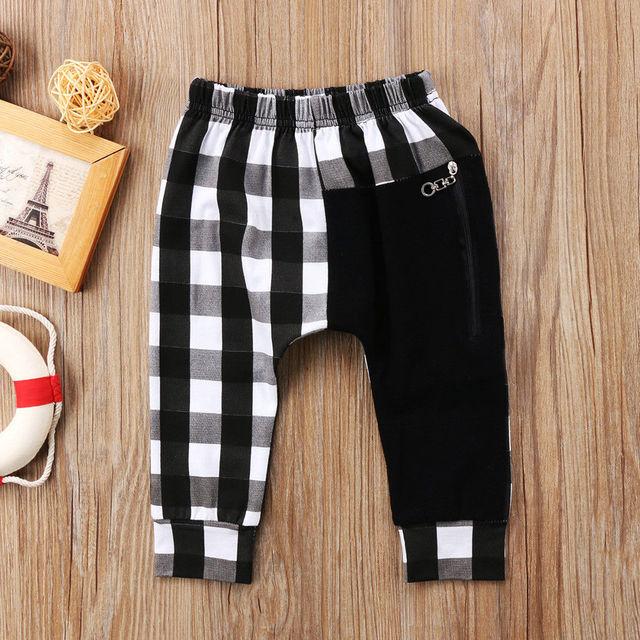Pudcoco Boy Pants 1Y-6Y Fashion Toddler Kids Boys Plaid Bottom Pants Panty Harem Pants Trousers Casual