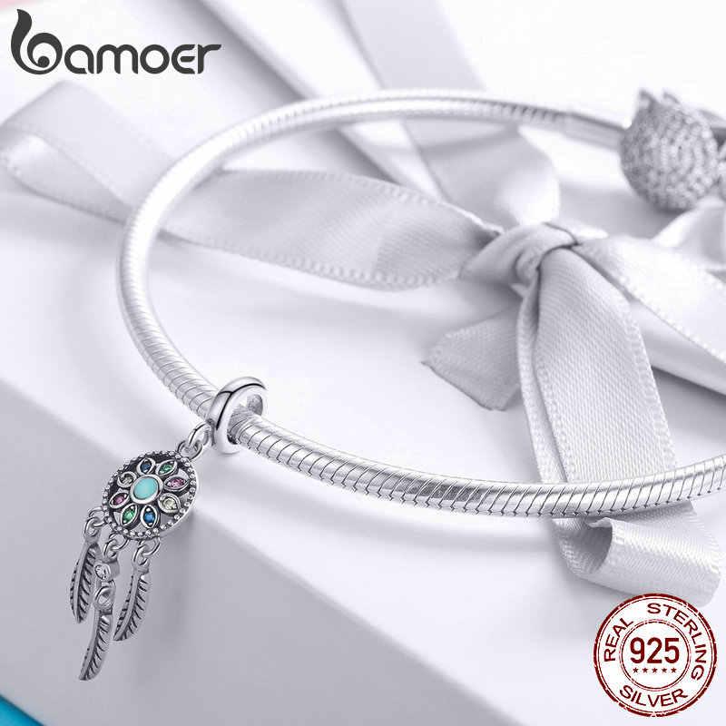 Средний год продажи стерлингового серебра 925 богемский Ловец снов Кулон Шарм fit браслет и ожерелья серебро DIY ювелирных изделий SCC961