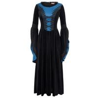 Punk Rave Gothic Steampunk Women Bell Sleeve Long Maxi Dress VTG Fancy Costumes