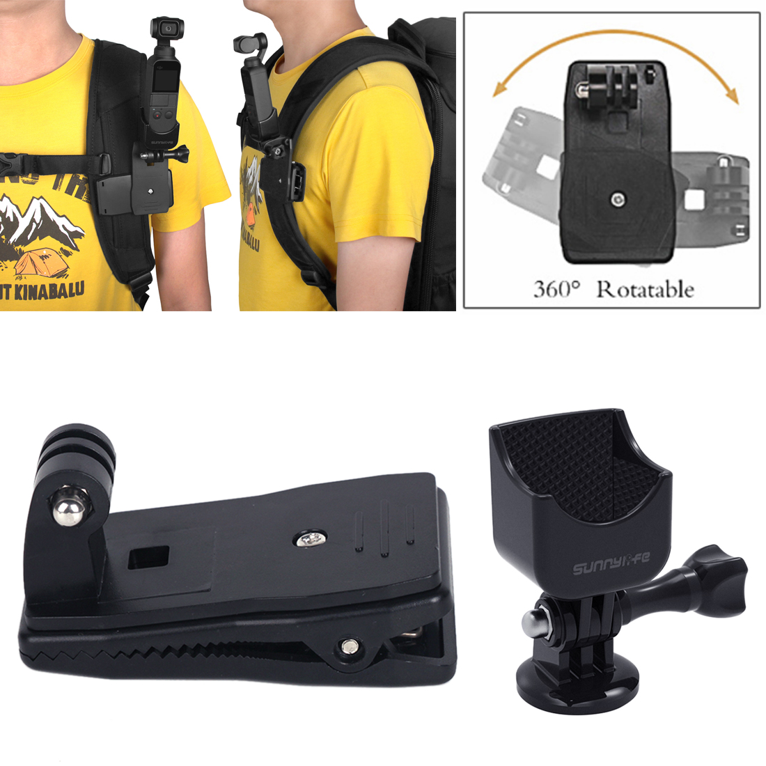 HOBBYINRC Multifunction Adapter and Bag Clip with 1/4 Screw Interface Expand Accessories for DJI OSMO Pocket FOR GOPRO adapter