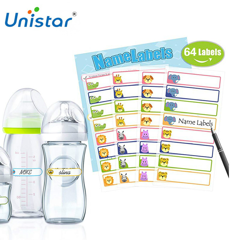 Unistar 64 Pieces Baby Bottle Labels For Daycare Multi Color Waterproof Write-On Name Labels Best For School Adhesive Sticker