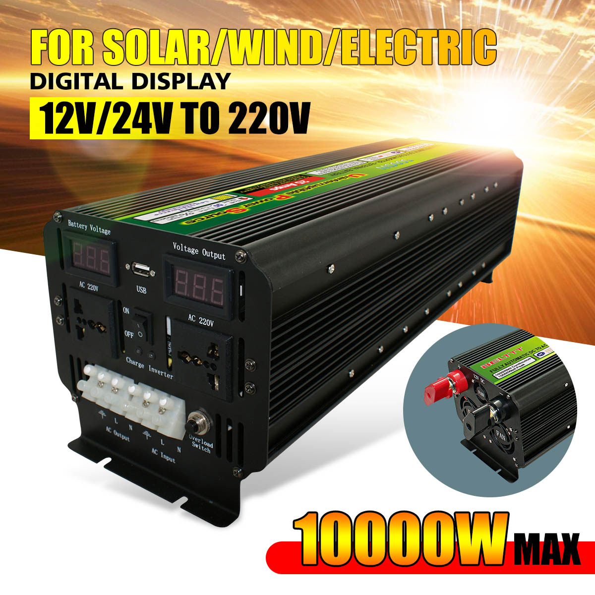 10000W(Peak) 12/24V To 220V UPS Power Inverter for Solar/Wind Rechargeable LCD display 5000Watt Modified Sine Wave Converter