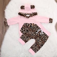 hot deal buy 2019 new fashion cute baby suit children boys and girls baby leopard sweater winter warm jacket pants children leopard clothing