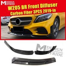 For Benz C-class W205 LCI Front Lip Diffuser Carbon Gloss Black 3-pcs Brabus-style C180 C200 Bumper Splitter 2019+
